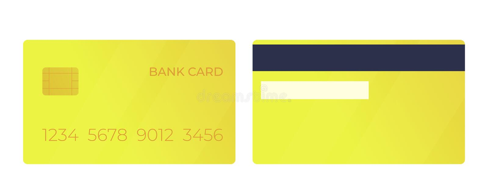 Payment gold bank card. Front and back view. royalty free illustration