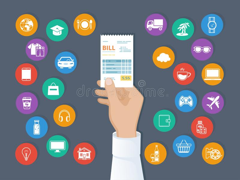 Payment of goods, services, utility, restaurant. Bill in man hand. Set of service icons. Shopping check receipt invoice order. Score. Paying bills. Vector stock illustration