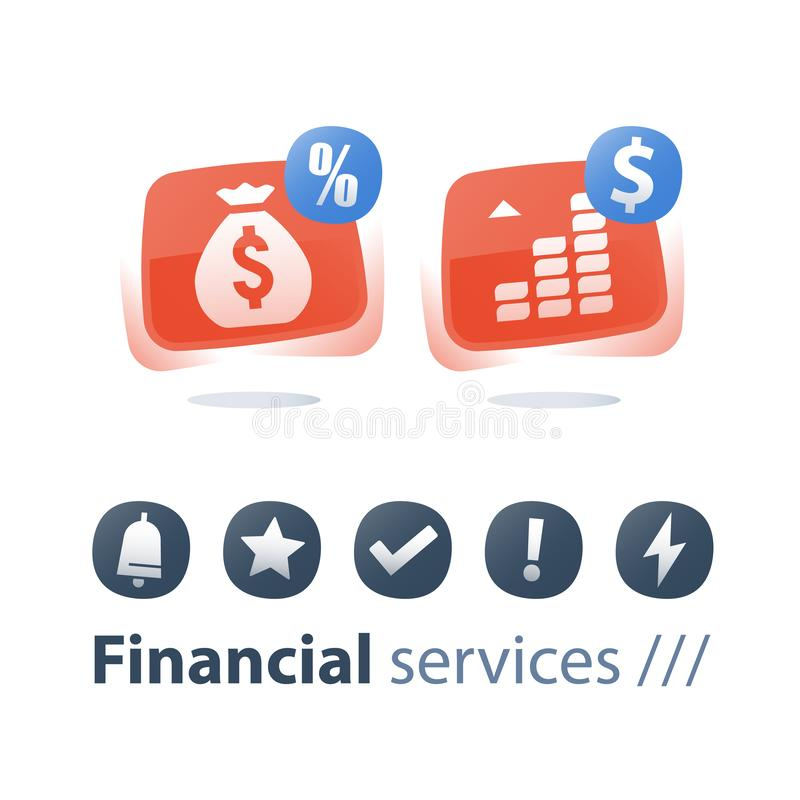 Payment installment, mutual fund, income increase, boost profit, more money, long term investment return, pension savings account royalty free illustration