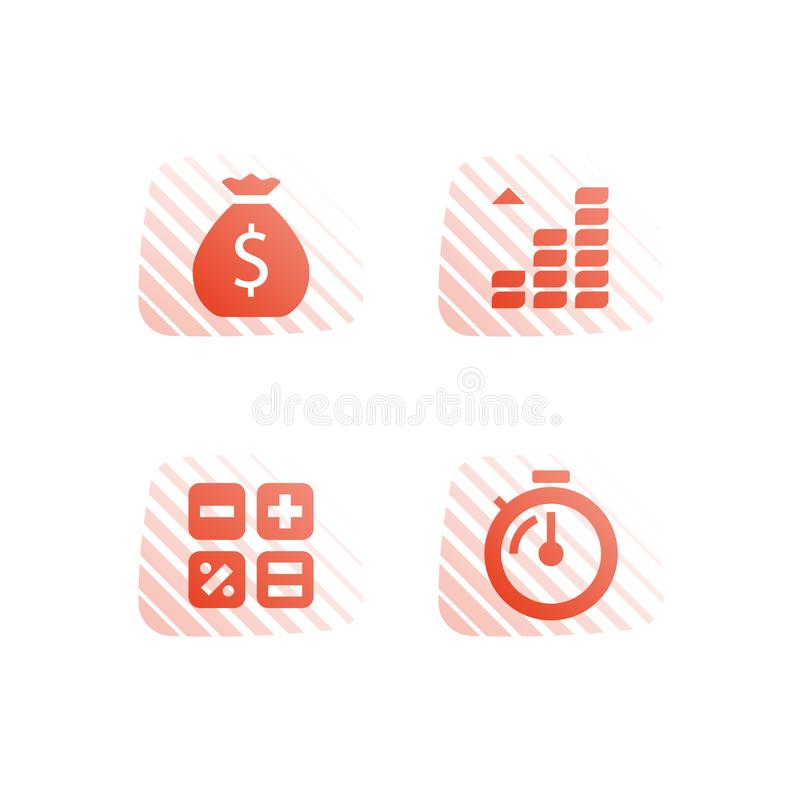 Payment installment, mutual fund, income increase, boost profit, more money, long term investment return, pension savings account vector illustration