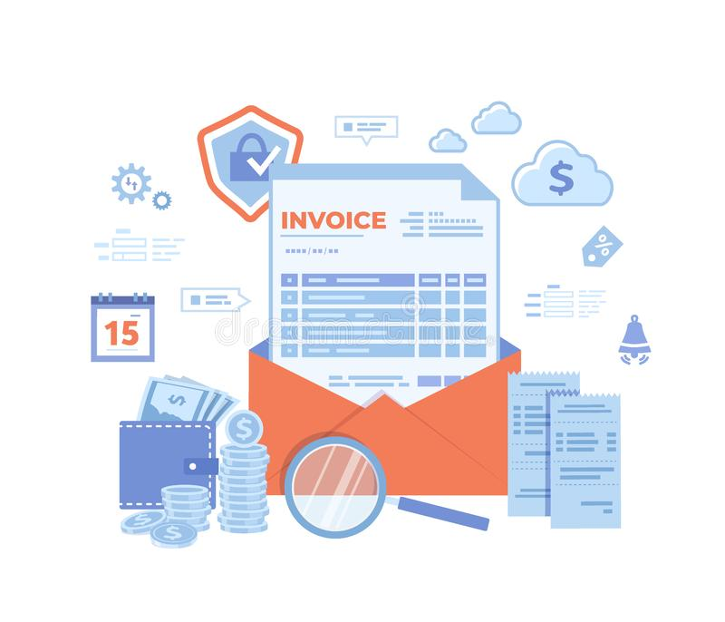 Payment and invoicing. Online paying, bookkeeping, accounting. Internet banking concept. Invoice in an open envelope, purse, money royalty free illustration