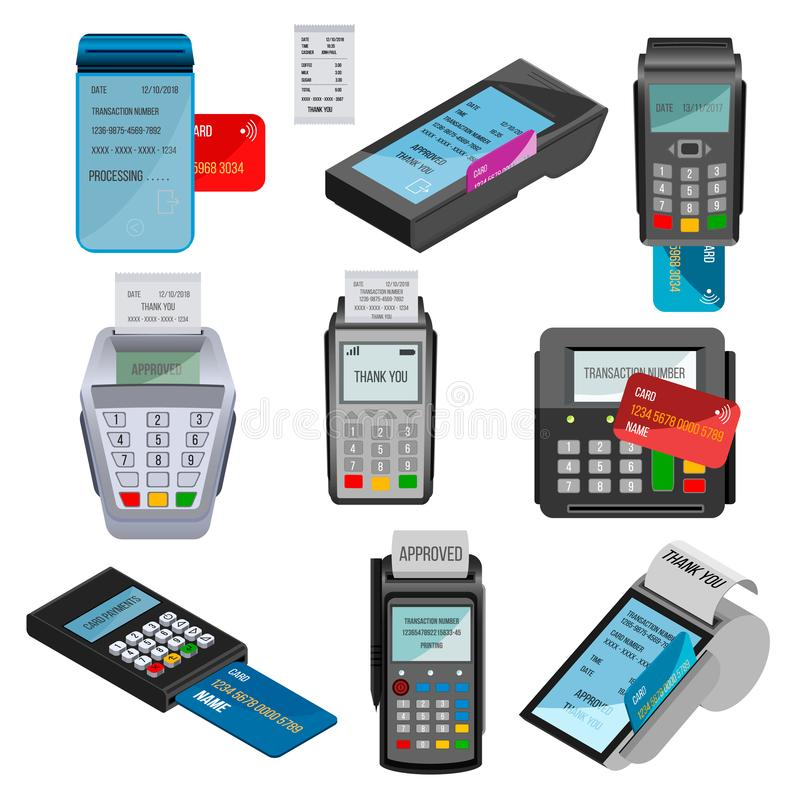 Payment machine vector pos banking terminal for credit card paying through machining cardreader or cash register in vector illustration