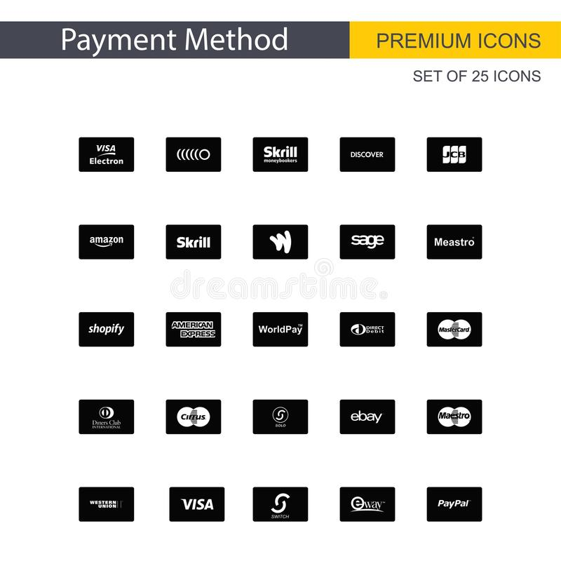 Payment method icons set vector. For web design and application interface, also useful for infographics. Vector illustration royalty free illustration