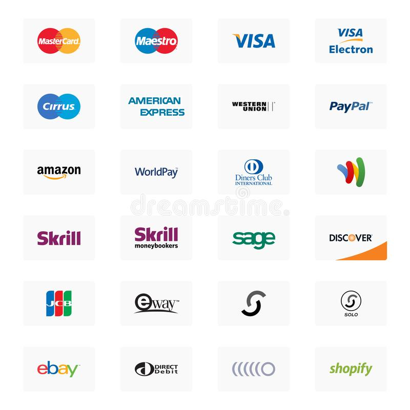 Free Payment Method Logos On A White Background Stock Images - 131492964