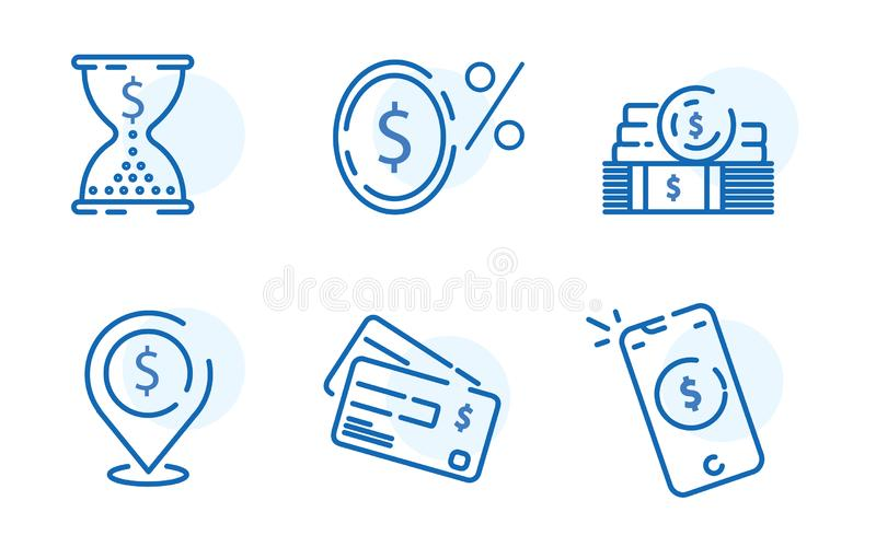 Payment methods, financial items set, zero percent commission fe stock illustration