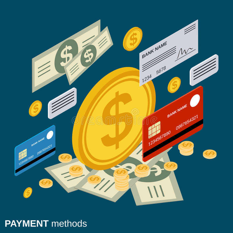 Payment methods, money transfer, financial transaction vector concept royalty free illustration