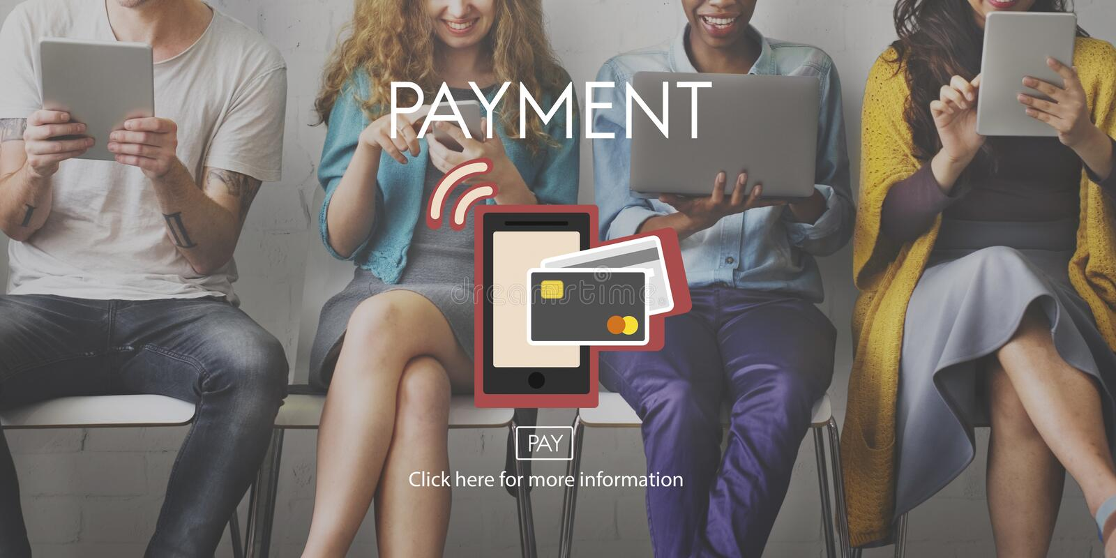 Payment NFC Near Field Communication Mobiel Wallet Online Concept. Diverse people using tablet word payment royalty free stock images