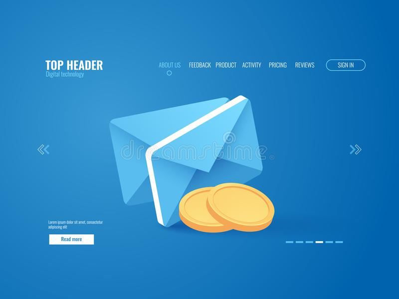 Payment notification concept, envelop with gold coin money, email isometric royalty free illustration