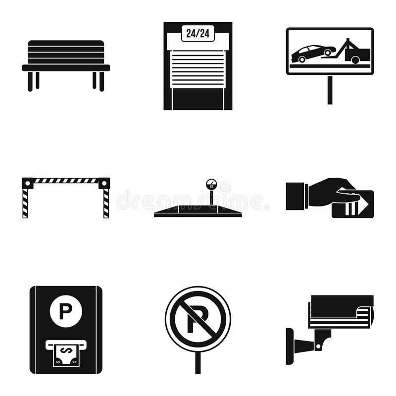 Payment of parking icons set, simple style royalty free illustration