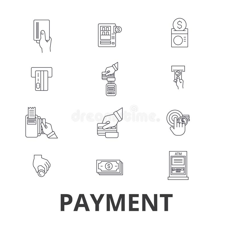 Payment, pay, money, credit card, online bill, salary, shop, invoice line icons. Editable strokes. Flat design vector royalty free illustration