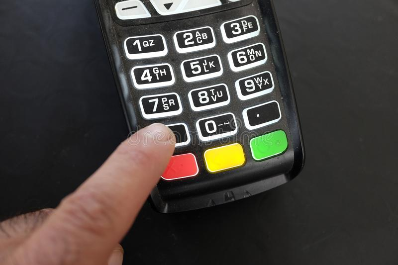 Payment with pos stock image
