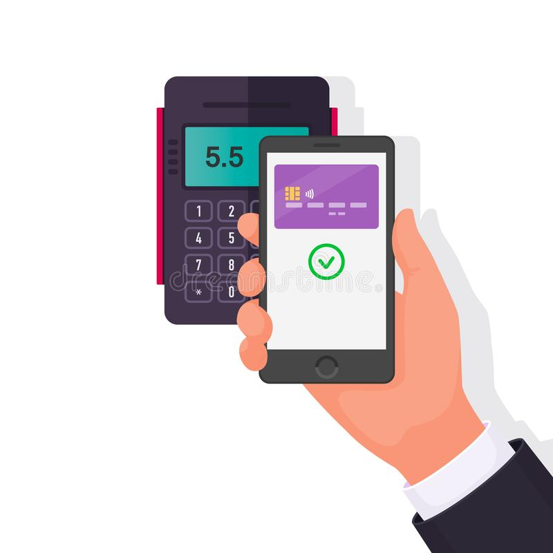 Payment for purchase via smartphone. Contactless payments. Vector illustration royalty free illustration