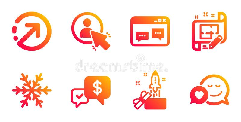 Payment received, Architect plan and Air conditioning icons set. User, Direction and Browser window signs. Vector. Payment received, Architect plan and Air vector illustration
