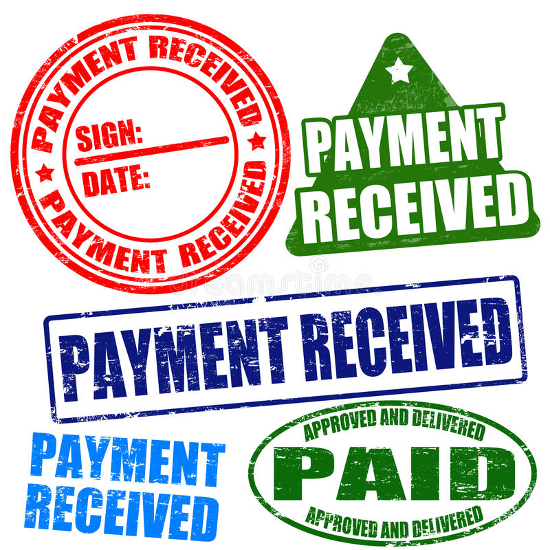 Payment received stamp set stock illustration