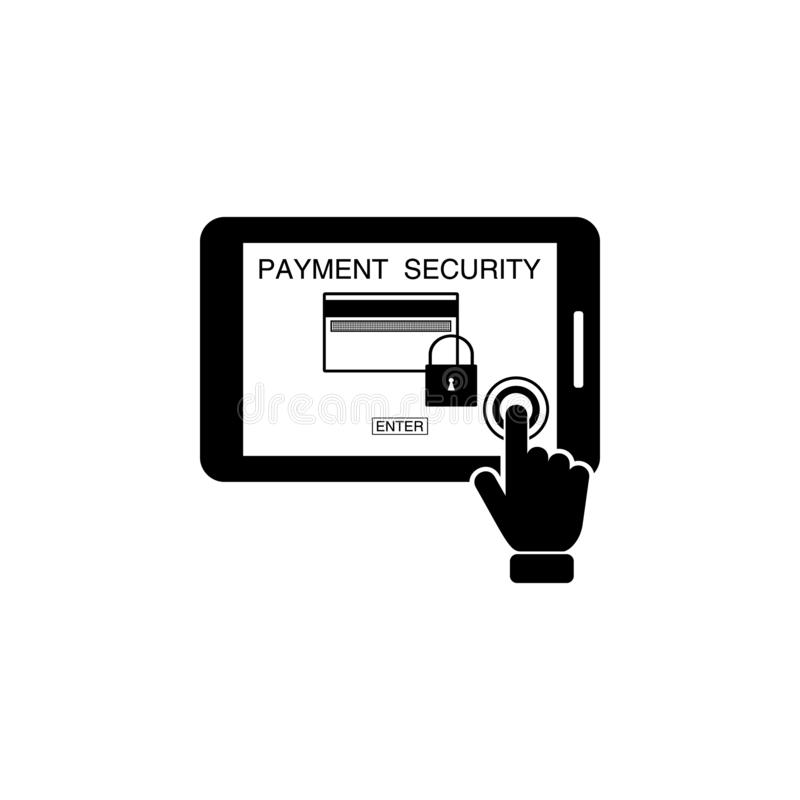 Payment security concept on touch screen icon. Element of touch screen technology icon. Premium quality graphic design icon. Signs. And symbols collection icon vector illustration