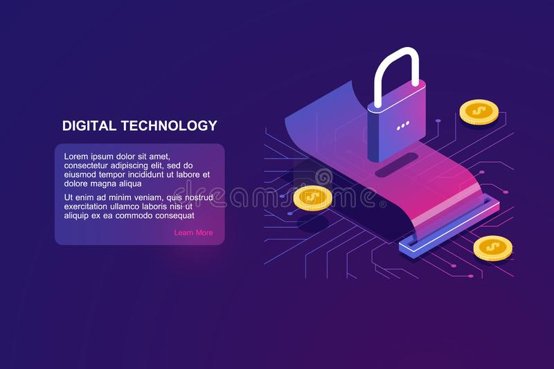 Payment security and money transaction, isometric icon of lock, digital banking, online bank operation, cryptocurrency royalty free illustration