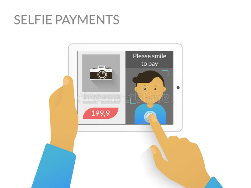 Payment with selfie. Man doing selfie to purchase something online royalty free illustration