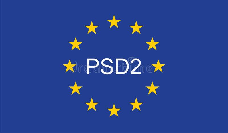 Payment Services Directive 2 PSD2. On European Union Flag royalty free illustration