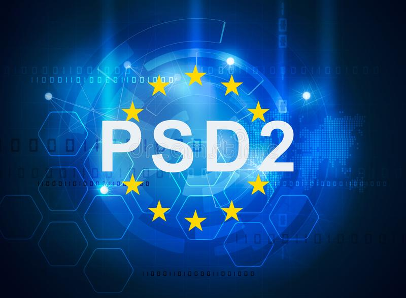 Payment services directive PSD2. Regulation directive in banking stock illustration