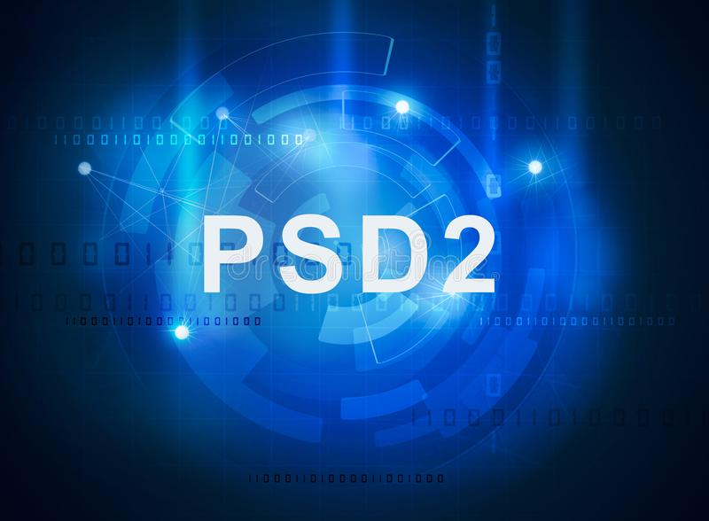 Payment services directive PSD2. Regulation directive in banking vector illustration