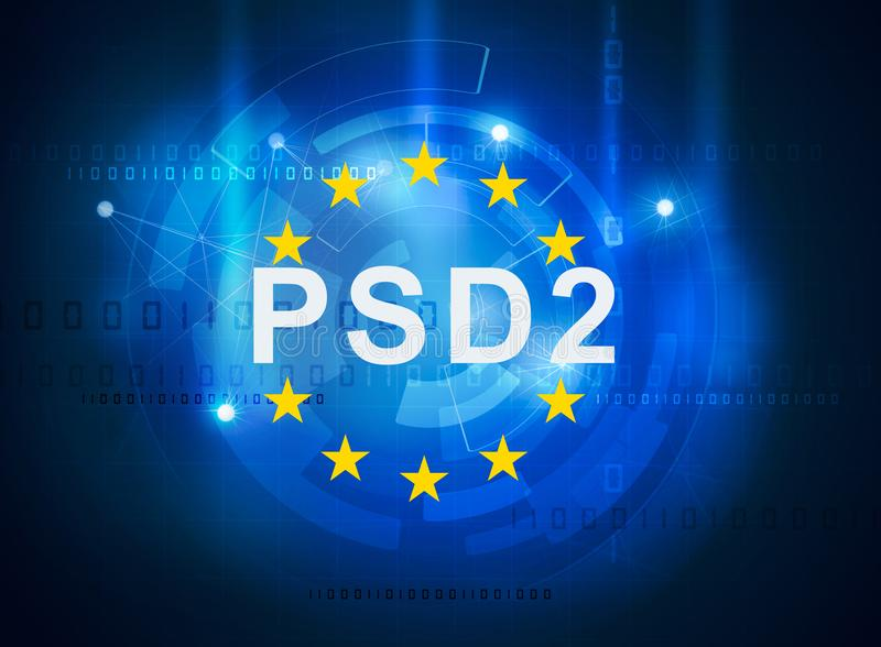Payment services directive PSD2. Regulation directive in banking royalty free illustration