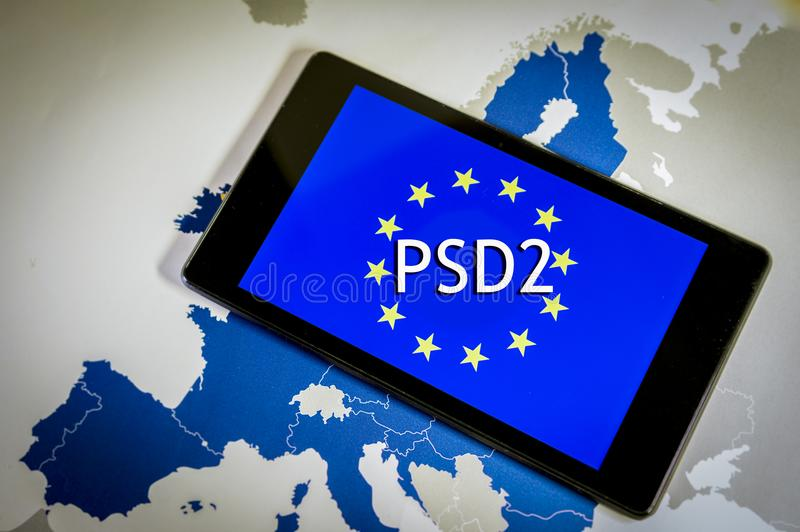 Payment Services Directive 2,smartphone, EU flag and map. royalty free stock photos