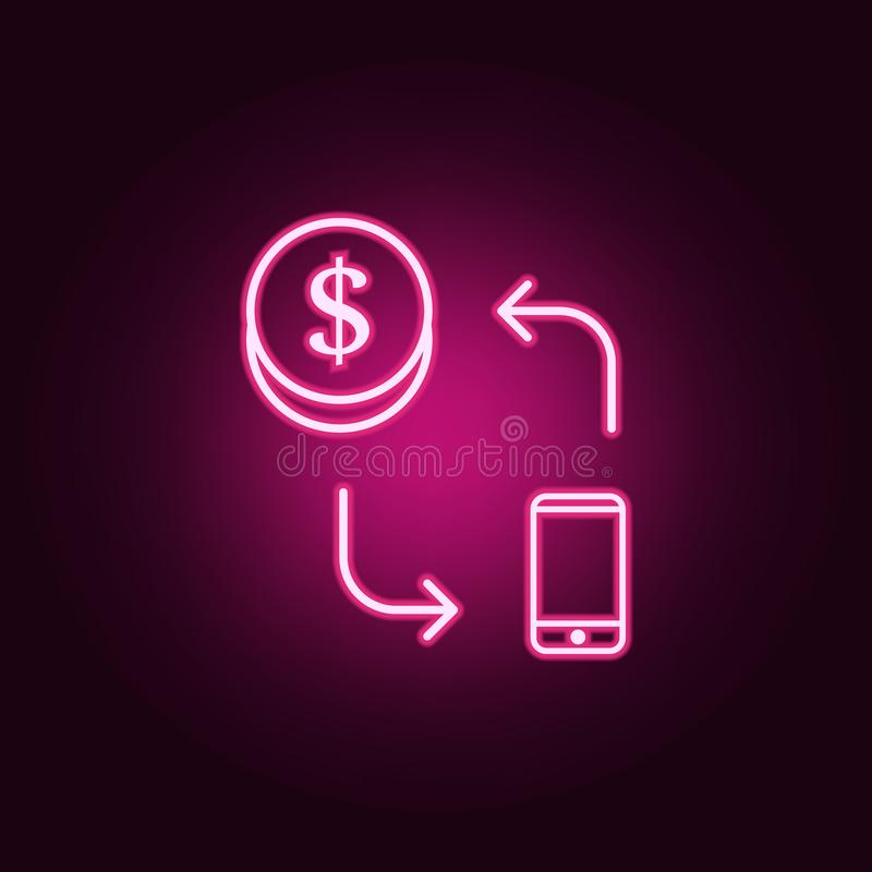 Payment by smart phone neon icon. Elements of web set. Simple icon for websites, web design, mobile app, info graphics. On dark gradient background stock illustration