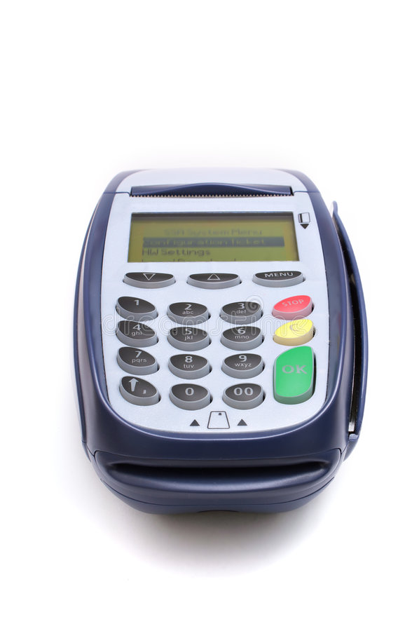 Payment terminal. Isolated on white royalty free stock images