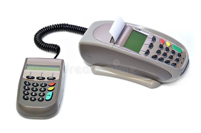 Payment terminal. Isolated on white stock photography