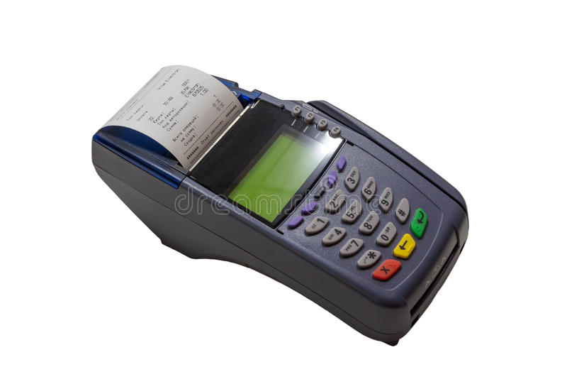 Payment terminal calculator. Payment terminal calculator buy store royalty free stock photos