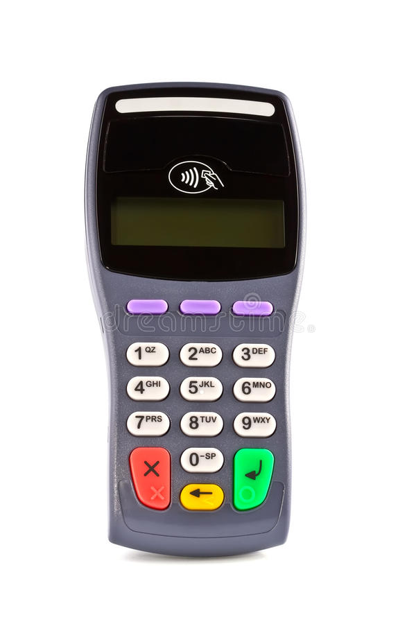 The payment terminal contactless. For payment of purchases royalty free stock images