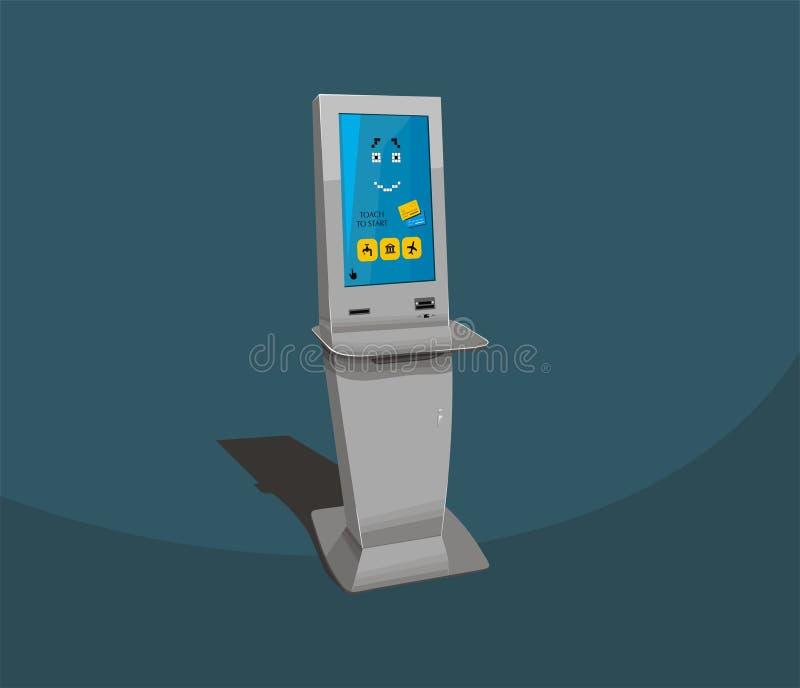 Gray payment terminal, Digital touch screen, interactive kiosk, pixel robot face vector illustration