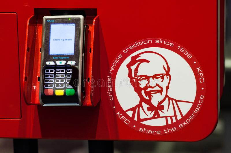 Minsk, Belarus, April 20, 2018: Payment terminal on kiosk to order food at KFC restaurant stock photos