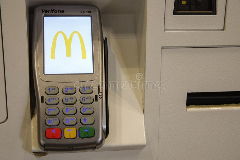 Payment terminal at McDonalds fastfood restaurant stock photo