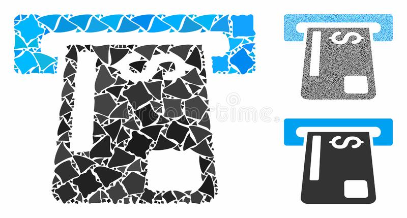 Payment terminal Mosaic Icon of Bumpy Pieces. Payment terminal mosaic of raggy items in variable sizes and color tones, based on payment terminal icon. Vector royalty free illustration