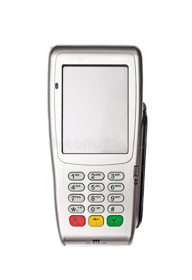 Payment terminal. On white background isolated royalty free stock image