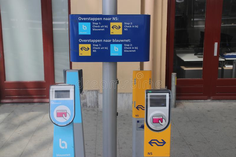 Payment terminals of NS and Keolis Blauwnet at station of Zwolle stock photos