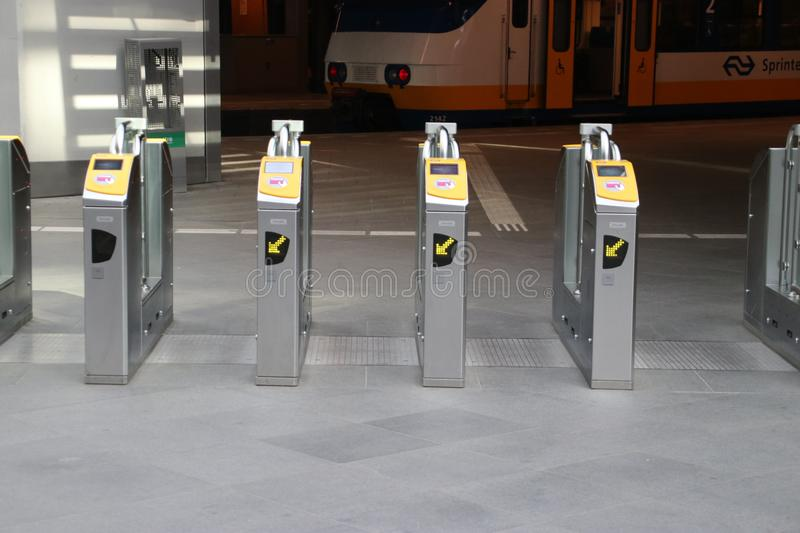 Payment terminals at the platform of the train station Den haag Centraal in the Netherlands. stock images