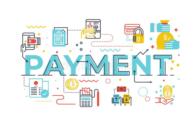 Payment word lettering illustration. With icons for web banner, flyer, landing page, presentation, book cover, article, etc royalty free illustration