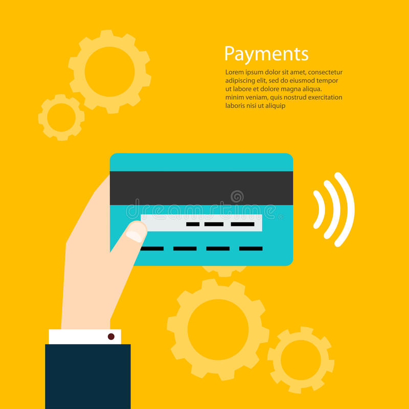 Payments. Man holding card. Vector illustration payments vector illustration