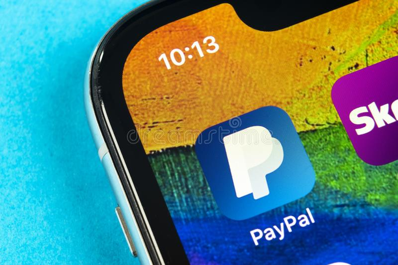 PayPal application icon on Apple iPhone X smartphone screen close-up. PayPal app icon. PayPal is an online electronic finance paym. Helsinki, Finland, May 4 stock photography