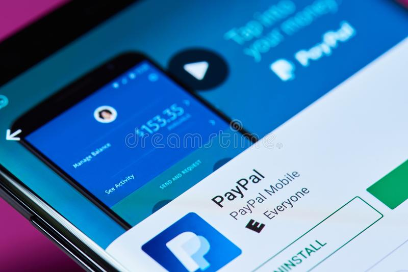 Paypal bank service. New york, USA - June 10, 2018: Paypal bank service on android smartphone screen close up view stock images