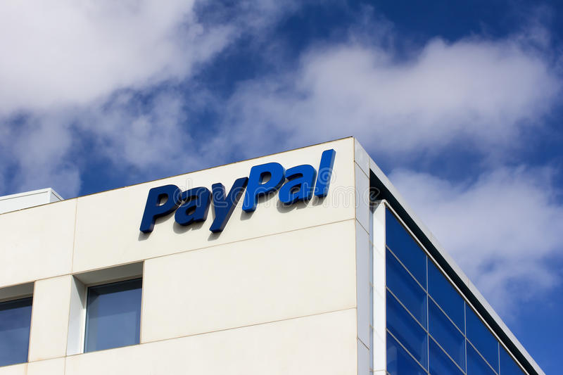 PayPal Corporate Headquarters Sign. SAN JOSE, CA/USA - MARCH 1, 2014: PayPal Corporate Headquarters Sign. PayPal is an international e-commerce business stock image