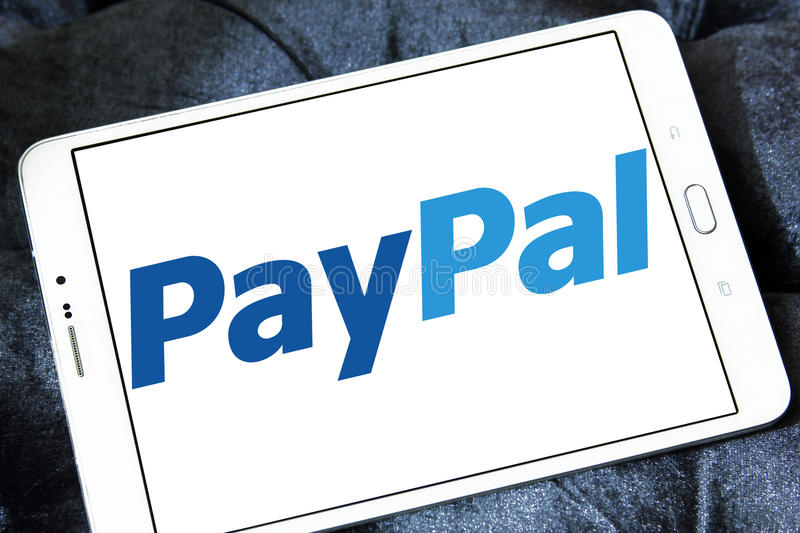 Paypal electronic bank logo. Logo of the electronic bank paypal on samsung tablet stock photo
