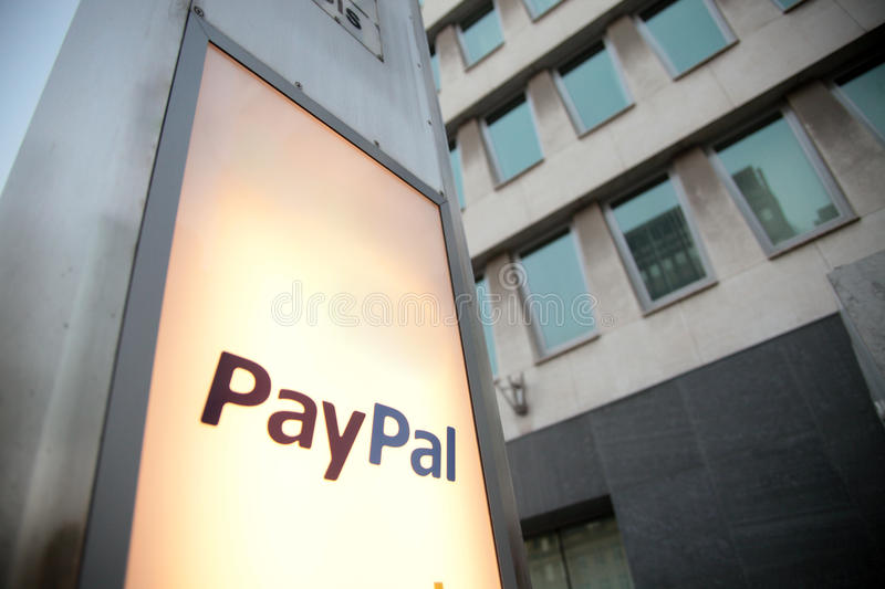 Paypal. Logo in front of company offices in Luxembourg stock images