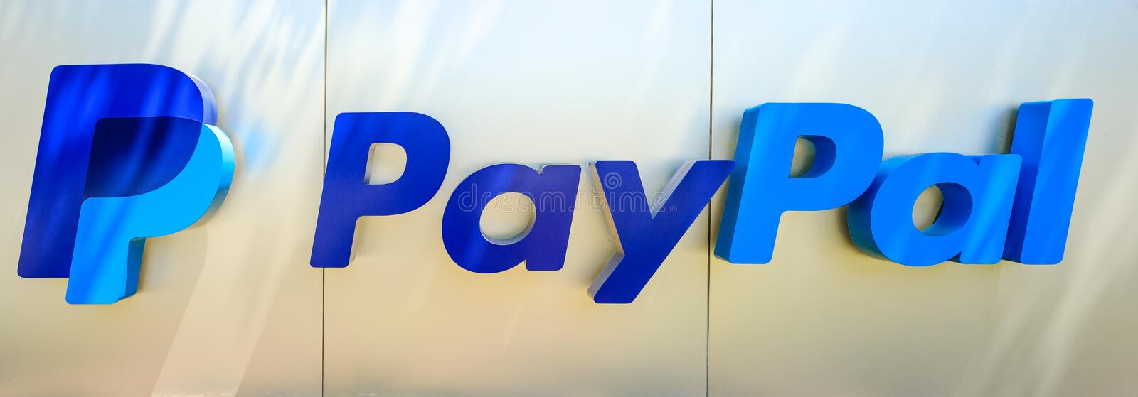 Paypal logo isolated. San Jose, California, United States - August 12, 2018: Paypal logo isolated from sign at Paypal Headquarters. Paypal is a corporation stock images