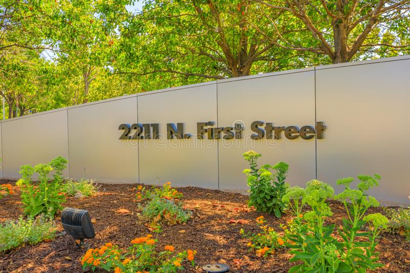 Paypal road San Jose. San Jose,California,United States - August 12, 2018: Paypal road sign 2211 N. First Street of Paypal HQ. Paypal is a multinational stock images