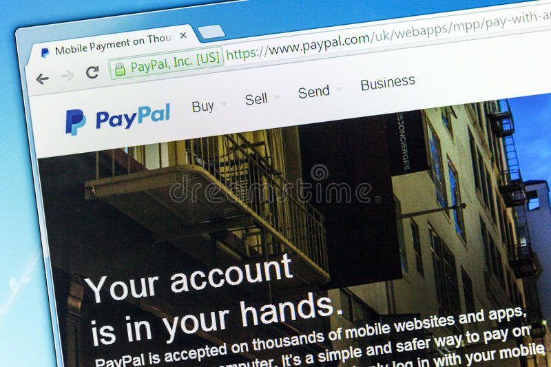 Paypal web page. York, United Kingdom – May 3, 2014: Closeup of Paypal web page after the company's rebranding in 2014, seen in a browser on a PC monitor stock images