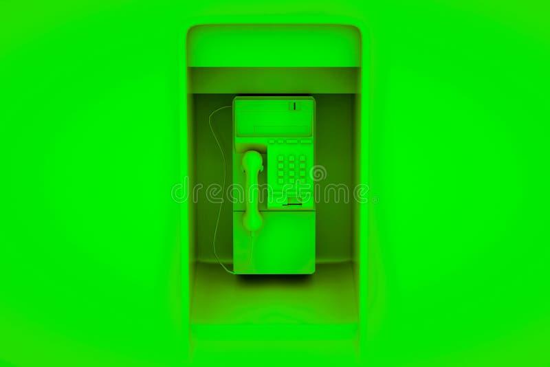 Payphone pubblico isolato su sfondo verde illustrazione 3d royalty illustrazione gratis