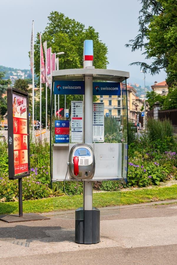 Payphone w Lugano mieście, Szwajcaria obrazy royalty free